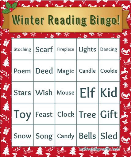 Winter reading Bingo card
