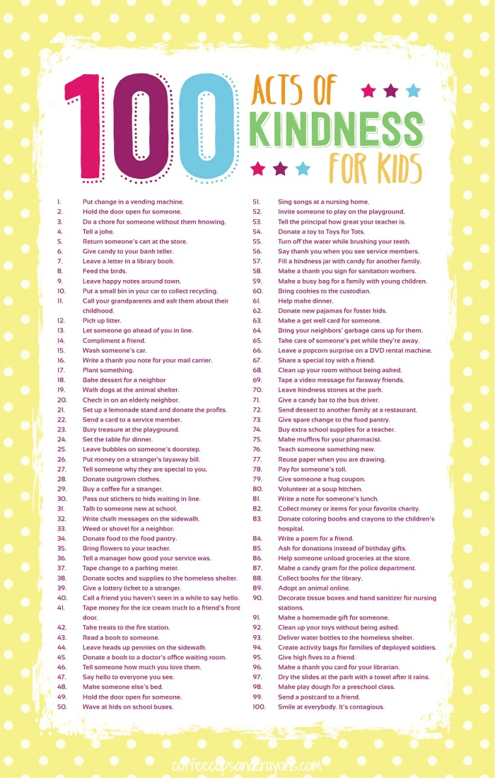 100 Acts of Kindness Printable