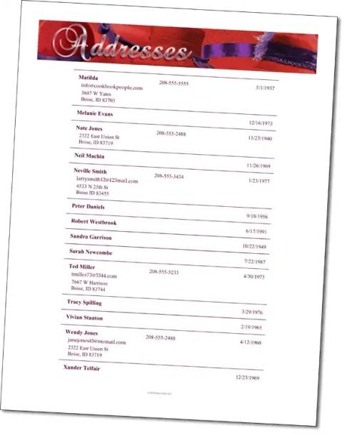 church directory template 555