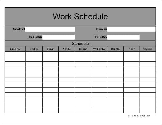 workers schedule template