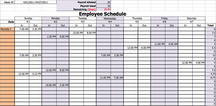 work scheduling template