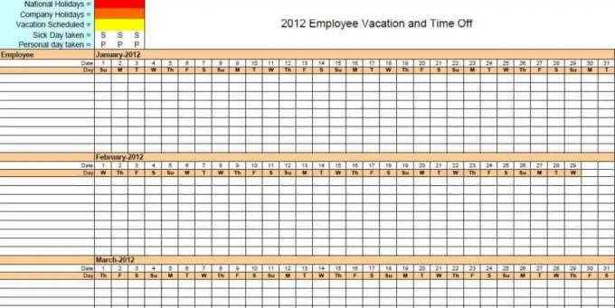 Employee Vacation Tracker Templates Excel Templates - Time off schedule template