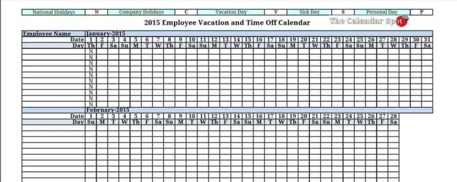 employee vacation tracker template 444