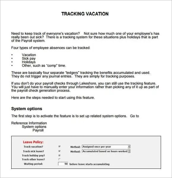 Vacation Tracking Samples