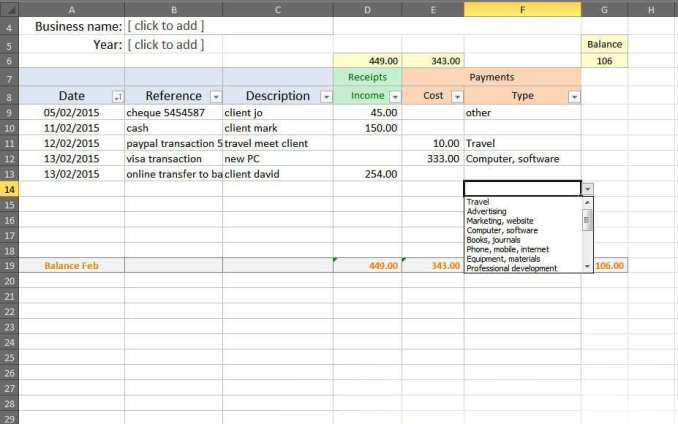 bookkeeping sheets sample