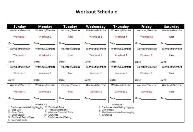 exercise calendar template