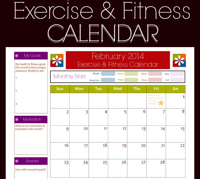 fitness calendar templates