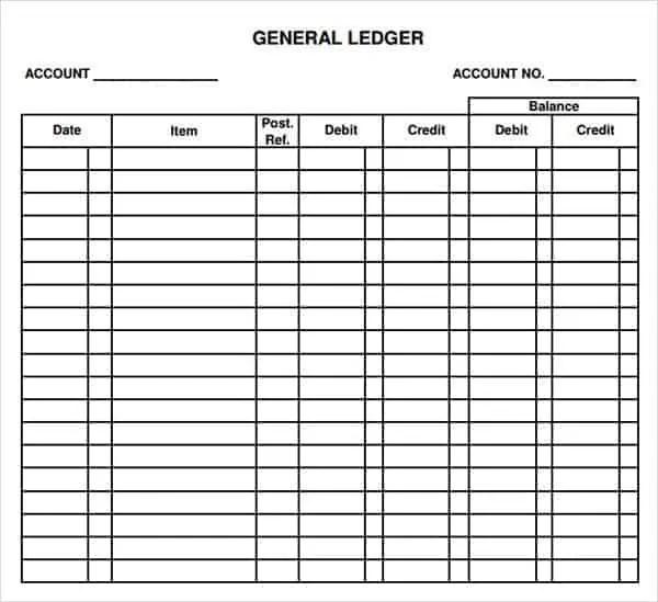 Delightful General Ledger Template 555 For Account Ledger Template