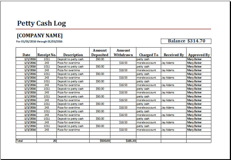 8+ Petty Cash Log Templates