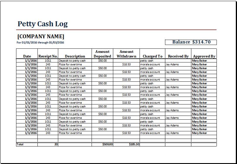 cash log template