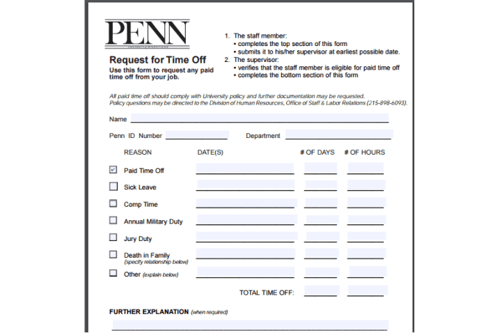 paid time off request form co for sample. 6 paid time off request ...