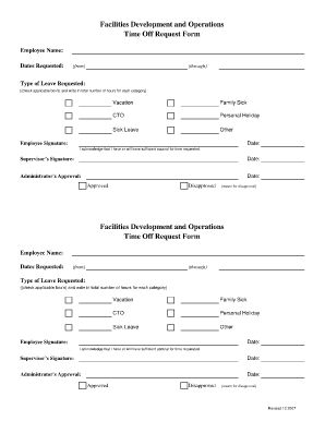 Time Off Request Form Free