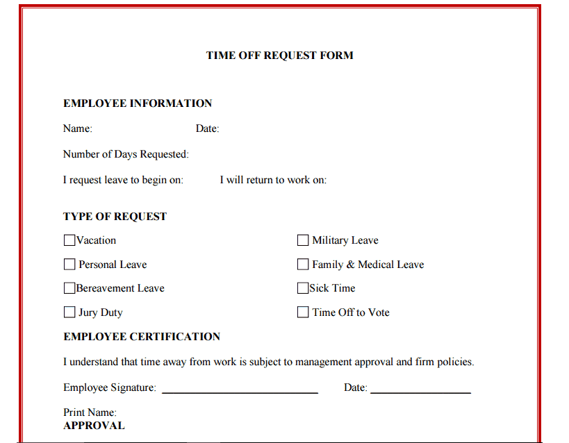 10+ Time Off Request Form Templates  Leave Request Form Sample