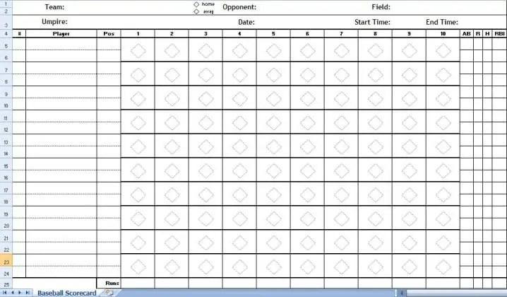 Superb Baseball Score Sheet Temlate 142