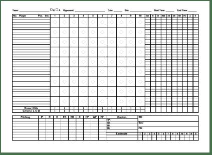 baseball score sheet temlate 8784