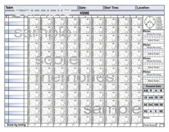 Baseball Scorecard Sample