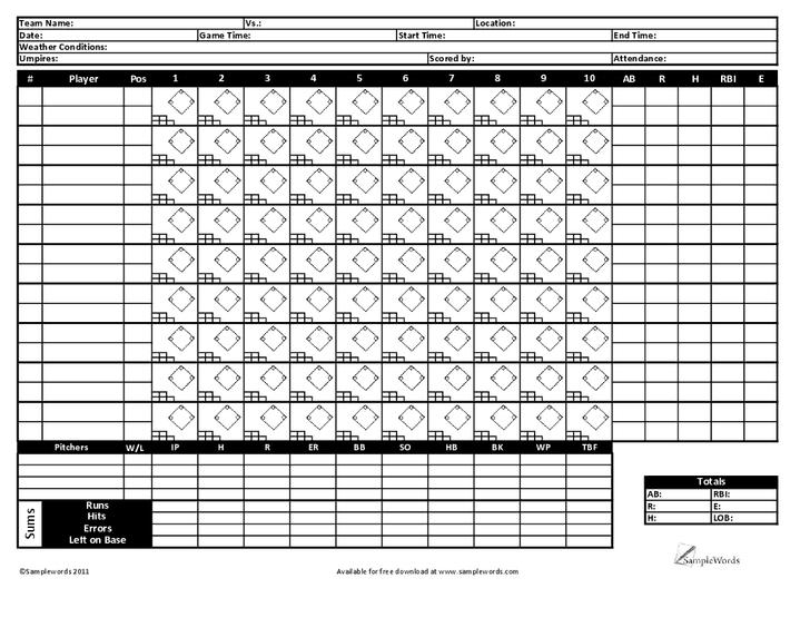 baseball scorecard 66