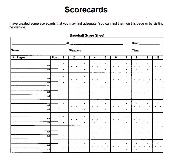 baseball scorecard. free baseball scorecard book. printable baseball ...