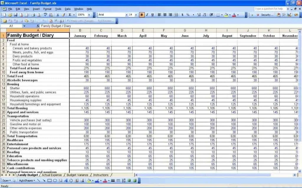 8  Monthly Budget Spreadsheet Templates - Free Word, Excel, PDF ...