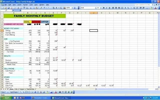 budget worksheet template 514