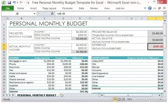 free excel budget spreadsheet