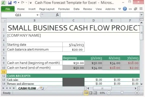 Cash Flow Template Excel