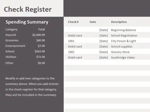 excel check register download