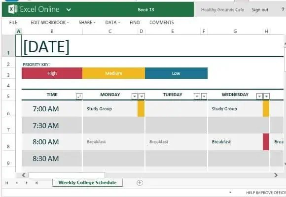 8 Class Schedule Makers Excel Templates