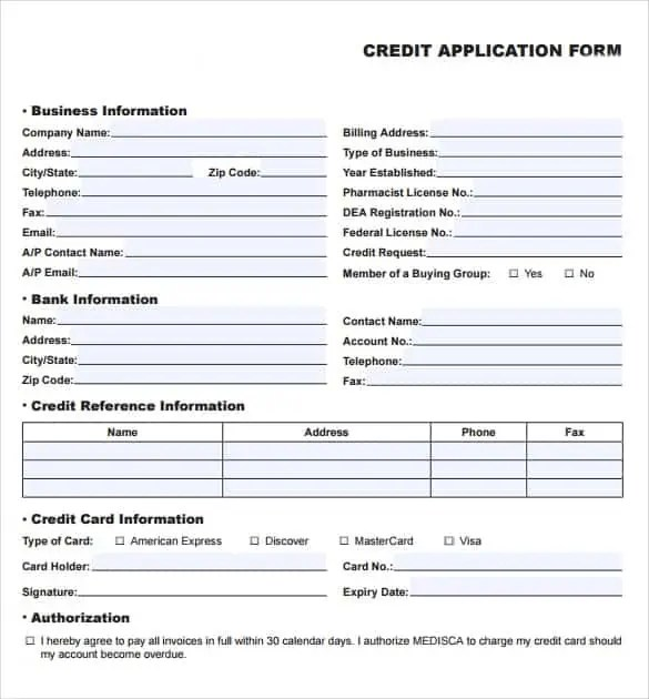 8 credit application templates excel excel templates accmission Image collections