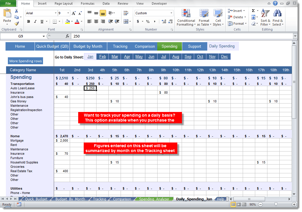 Daily Spending Tracker Template Archives - Excel Templates