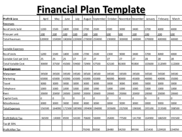 Financial Plan Template Insssrenterprisesco   Financial Business Plan  Template