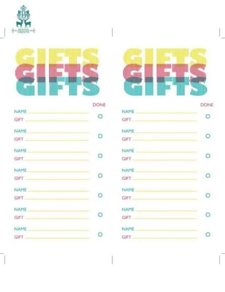 gift list template 1445