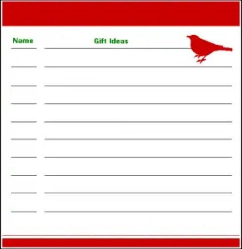 gift list template 6781