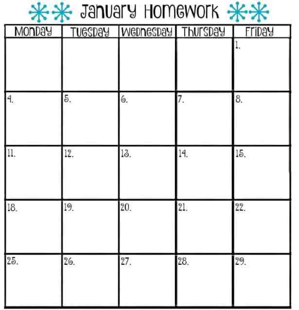 9 Homework Calendar Templates Excel Templates