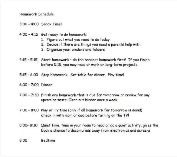 9+ Homework Schedule Templates