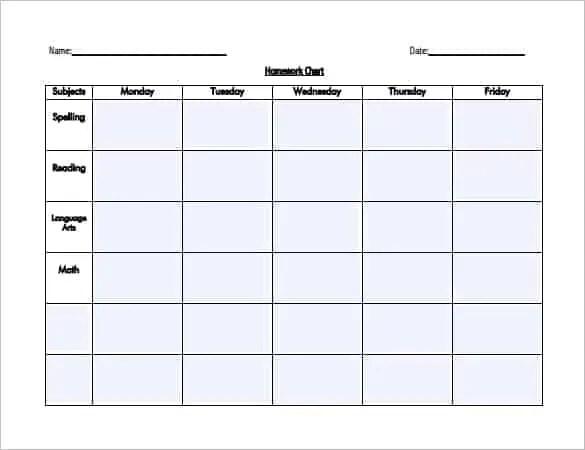 homework scheduel 7154