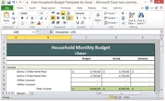 House Hold Budget Spreadsheet Templates Excel Templates
