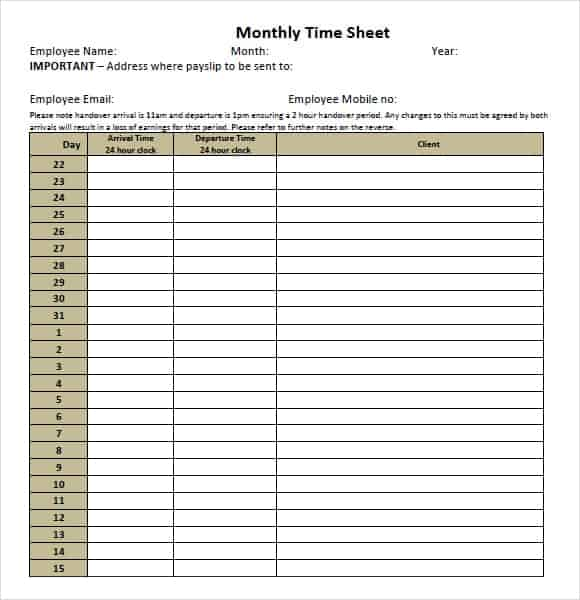 9  monthly timesheet templates