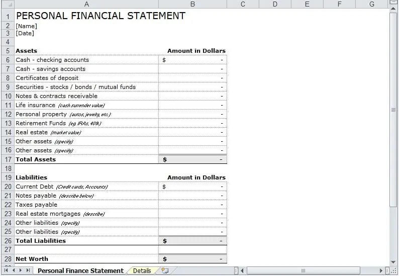 Online Free Personal Financial Statement Template Archives - Excel