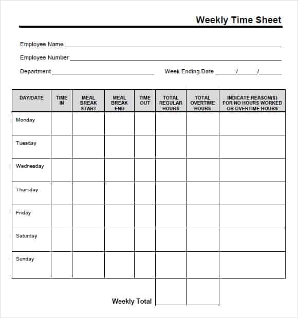 time card sheet - Printable Time Cards