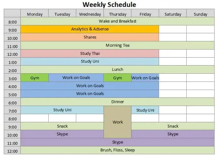 weekly schedules templates