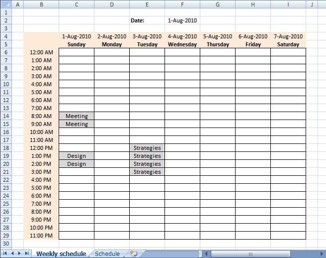 weekly schedule template 999