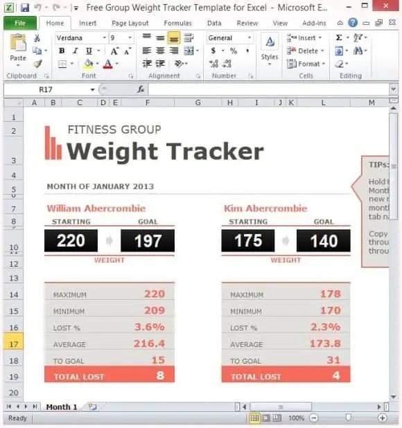 biggest loser spreadsheet template excel