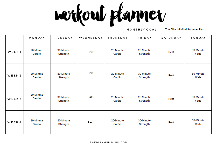 Exercise Calendar Template Archives Excel Templates