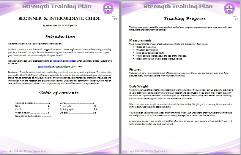 Get Fit. Go Figure! Strength Training Plan- Beginner/ Intermediate © (e-book)