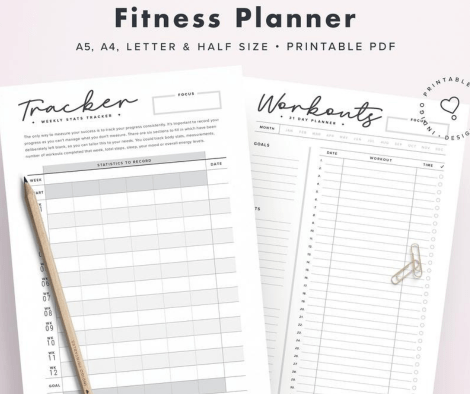 IndigoPrintables Best Workout Planners