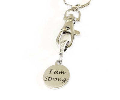 Motivational I Am Strong Workout Keychain