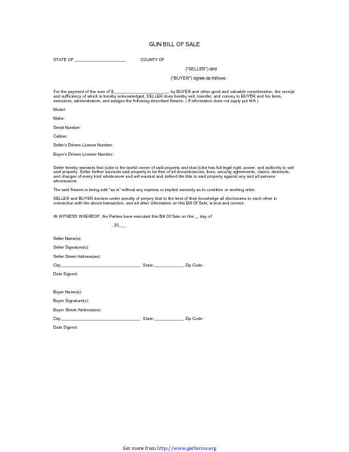A california firearm bill of sale is a document used to record the transfer of different kinds of a firearm from one party (the seller) to another (the. Firearm Bill Of Sale 1 Download Bill Of Sale Form For Free Pdf Or Word