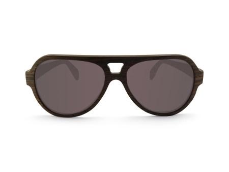 Foto van voorkant van houten zonnebril Blackbird van merk foxwood