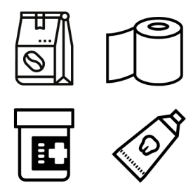 Commodity Items - Coffee Beans, Toilet Paper, Medication, and Toothpaste